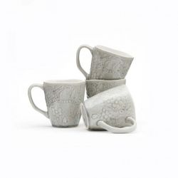 Set of 4 Mugs Porto | Grey