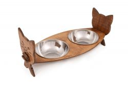 Pet Food Bowl | Walnut