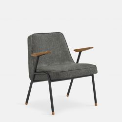 Armchair 366 Metal & Loft | Black Matt / Grey