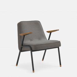 Fauteuil 366 Metaal & Tweed | Mat Zwart / Grijs
