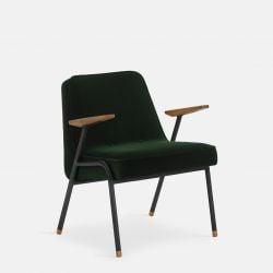Sessel 366 Metall & Samt | Mattschwarz / Dunkelgrün