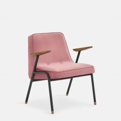 Armchair 366 Metal & Velvet | Black Matt / Powder Pink