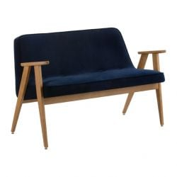 Sofa 366 | Natural Oak & Velvet Indigo