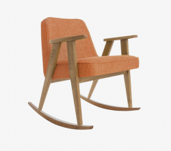 Rocking Chair 366 | Loft Mandarine Orange & Dunkle Eiche