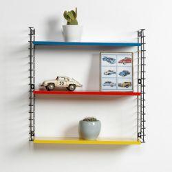 Bücherregal | Blau, Rot und Gelb