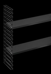 Extension Wall Rack (1 Frame & 2 Shelfs) | Black
