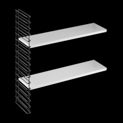 Extension Wall Rack (1 Frame & 2 Shelfs) | Black & White