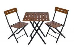 3er Set Tisch und Stühle | Walnuss-Schwarz