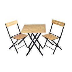 Outdoor-Tisch & Stühle Set | 3 Stück | Braun - Schwarz