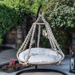 Outdoor Single Swing Chair Round | Cream