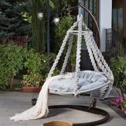 Outdoor Single Swing Chair Round | Grey