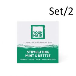 Set de 2 Barres de Shampoing au Yaourt Naturel | Stimulating Mint & Nettle | Vert