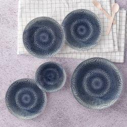 Porzellan-Geschirrset | 24 Teile | Creme Schwarz