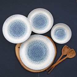 Porzellan-Geschirrset | 18 Teile | Weiß Grau