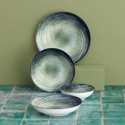 Porzellan-Geschirrset | 24 Teile | Creme Grün Schwarz