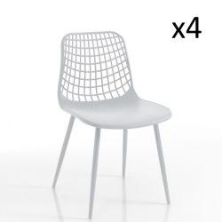 Innen-/Außenbereich Stuhl Nairobi 4er-Satz | Weiß