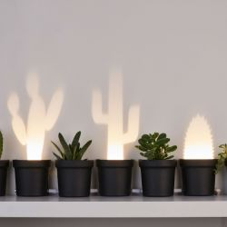 Lampe de Table Cactus | Set de 3 | Plastique | Cordon Noir