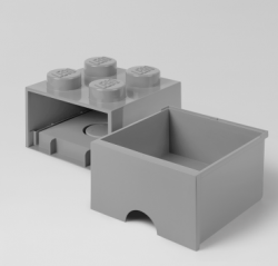 LEGO Brick Drawer 4 Knobs (1 drawer) | Grey
