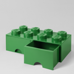 LEGO Brick Drawer 8 Knobs (2 Drawers) | Green