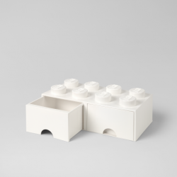 LEGO Brick Drawer 8 Knobs (2 Drawers) | White