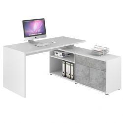 Computertisch 4020 | Icy-Weiß / Steingrau