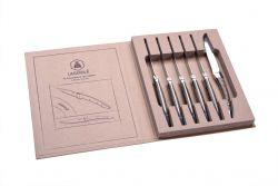 6er-Set Steakmessern aus Edelstahl + Holzhalter