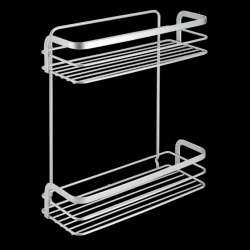 Bathroom Rectangular Shelf Viva | 2 Levels | Silver