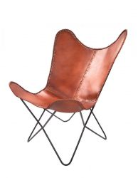 Leather Butterfly Chair Javier | Cognac
