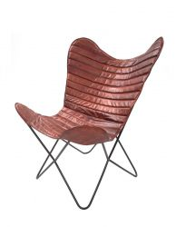 Leather Butterfly Chair Francisco | Cherry Red Stripes