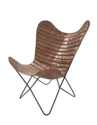 Leather Butterfly Chair Francisco | Greenish Stripes