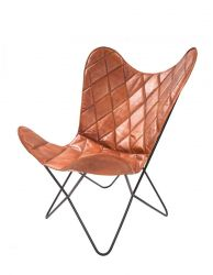 Leather Butterfly Chair Pedro | Cognac Check Pattern