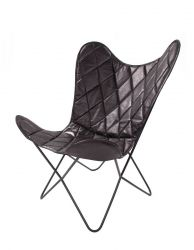 Leather Butterfly Chair Pedro | Black Check Pattern
