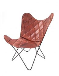 Leather Butterfly Chair Pedro | Cherry Red Check Pattern
