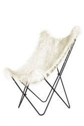 Fake Fur Butterfly Chair Lynn | White