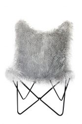 Fake Fur Butterfly Chair Lynn | Grey