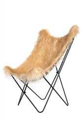 Fake Fur Butterfly Chair Lynn | Brown/Beige