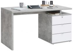 Computertisch 4056 | Betonoptik / Weiß Hochglanz