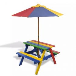 Kid's Picnic Table + Parasol