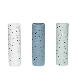 Vase Dots Set of 3 | Green / White / Blue