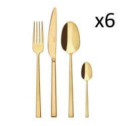 Cutlery Set of 24 Pieces Rock | Stainless Steel Gold