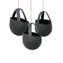 Set of 3 Hanging Planters Sling | Wicked Black
