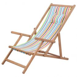 Foldable Beach Chair with Pillow | Multicolour