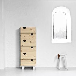 Dressoir 6 Tiroirs House | Blanc & Naturel