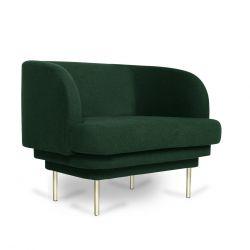Sessel CORNICE | grüner Samt Messingbeine