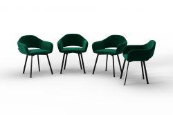 Set Of 4 Chairs Oldenburg | Green-Velvet Touch