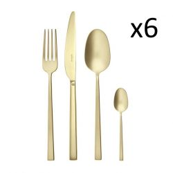 Cutlery Set of 24 Pieces Rock | Stainless Steel Champagne Matt