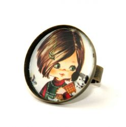 Girl with Dog Round Cameo Ring