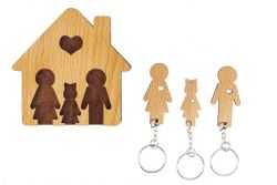 Keyholder with Set of Keychains | Family with Daughter