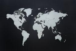 Luxus-Weltkarte aus Holz 130 x 78 cm | Weiß