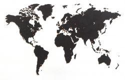 Luxus-Weltkarte Wanddekoration + Puzzle | Schwarz